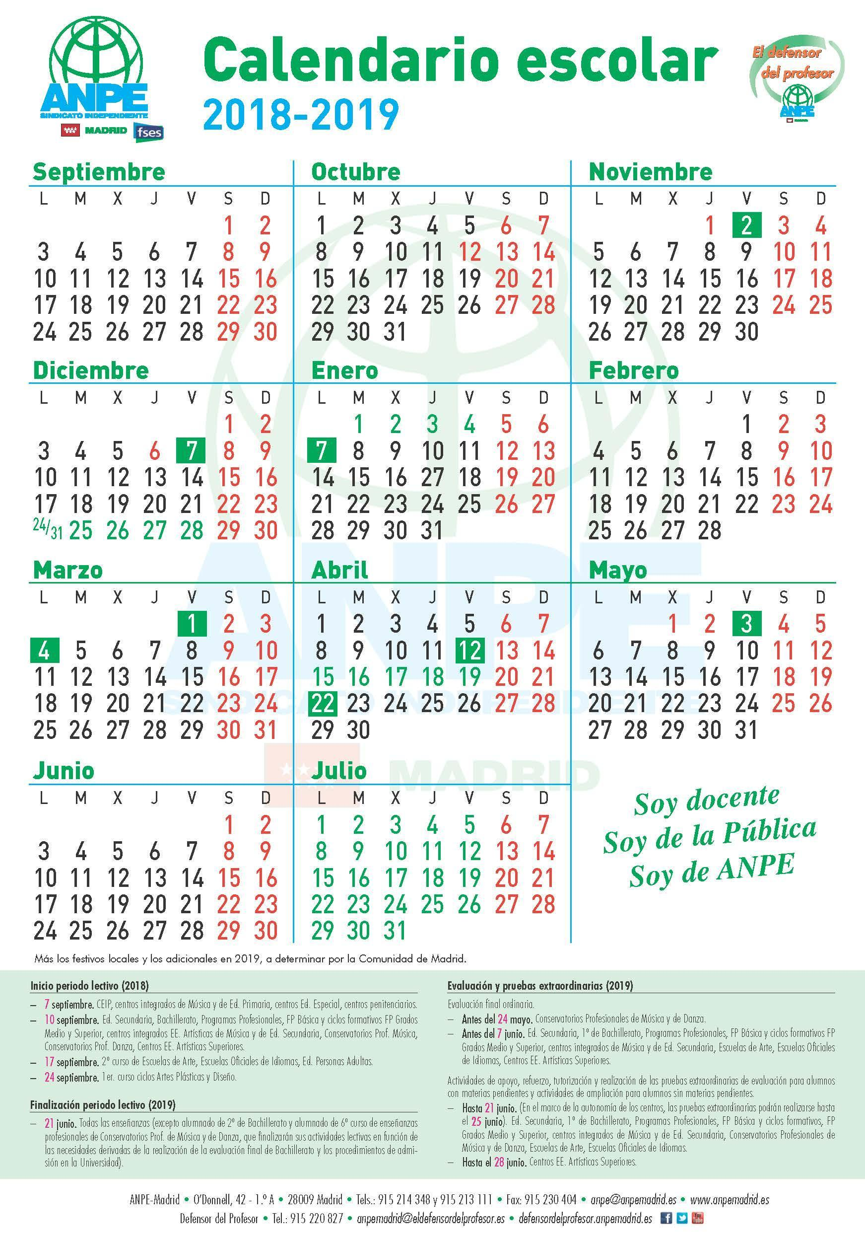 Calendario Escolar Madrid 2020 2019.Anpe Madrid Calendario Escolar